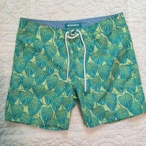 "New BONOBOS $88 Palm Print 7"" Board Shorts NWOT"
